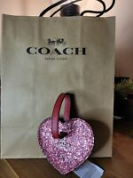 Coach Leather Glitter Heart Luggage Tag Bag Charm Red F34769 Nwt & gift bag incl