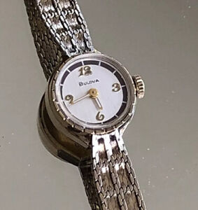 Vintage Ladies Bulova Wide Up Wrist Watch, 10kt RGP, Bezel, 1/20 10kt GF Clasp