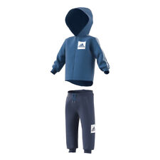 adidas 3 Stripes Full Zip Fleece Jogger Babies' Tracksuit Blue 3 Years