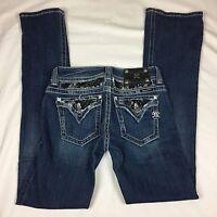 Miss Me Jeans Laced Size 27 - Flap Pocket Dark Blue Boot Cut Stretch Embelished