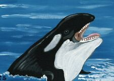 ACEO ATC Original Miniature Painting Orca Killer Whale Ocean Art -Carla Smale