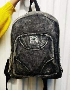 Hemp small black non-acidic stone washed handmade organic sustainable bagpack.