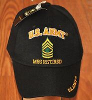 New Black US Army MSG Master Sergeant Retired Hat Ball Cap Veteran E-8 Licensed
