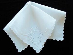 Set of 4 Antique White Linen Tea Napkins HAND-EMBROIDERED EYELET CUTWORK