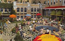ATLANTIC CITY NEW JERSEY HOTEL TRAYMORE PATIO~SUNBURST UMBRELLA POSTCARD 1948