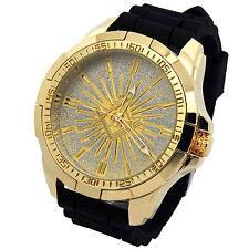 Mens Techno King gold Metal Case Mason Black Silicone Band Quartz Wrist watches