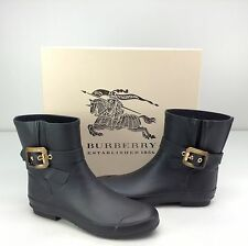 Burberry Overthorpe Black Rain Boots Faux Horn Buckle EU 41 / US 11 Ankle Rubber