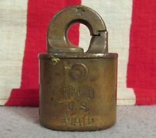 Vintage Antique US Reg'd Mail Lock Postal Rotary Padlock Post Registered M92538