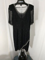 Vintage Laurence Kazar Heavily Beaded Sheath Black Cocktail Dress