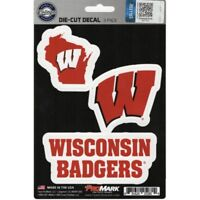 wisconsin badgers ncaa college logo team die-cut decal set 3 pack made in usa