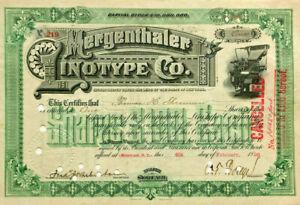 Mergenthaler Linotype Co. 1896 New York stock certificate