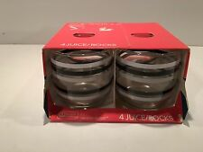 Four (4) 1989 Anchor Hocking White, Black, and Gray Striped Juice Rocks Glasses