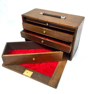 Antique Wooden Oak Engineers Toolbox / Tool Box / Cabinet / Collectors Chest