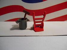 LEGO HARRY POTTER RED DOLLY & TRASH CAN/BROOM HOGWARTS EXPRESS TRAIN Set 4708
