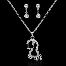 Women Bridal Wedding Jewelry Set Crystal Rhinestone Earrings Horse Necklace