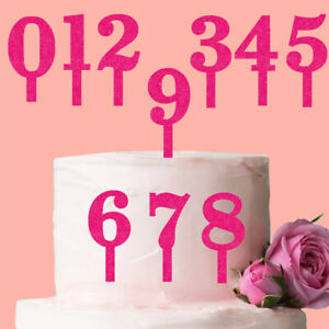 0-9 Number Cake Topper Glitter Pink Birthday Decoration Present Gift Idea Candle