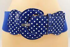 New Women Belt Fashion Elastic Blue Polka Dots Hip Waist Trendy Plus Size M L XL