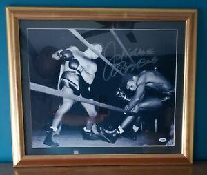 Jake LaMotta Signed Photo 16x20 Boxing Auto Sugar Robinson Raging Bull Inscr PSA