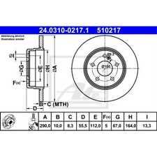 ATE 2x Bremsscheiben Voll beschichtet 24.0310-0217.1