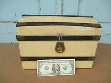 VINTAGE  Doll Trunk - French Fashion Doll ? DOME TOP miniature STEAMER TRUNK old