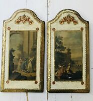 2 Vintage Florentine Wall Plaque Toleware Gold Wood Italy Victorian Scene 9 X17""