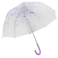 Transparent Flower C-Handle Half Automatic Clear Dome Shape Rain Umbrella