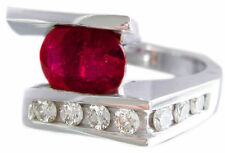 14K WHITE GOLD OVAL CUT RUBY AND DIAMONDS SEMI TENSION SET RING BRIDAL  4.02CTW
