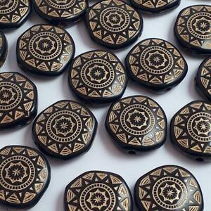 10pcs Black & Gold Tribal Acrylic Flat Round Beads 18mm - B0101574