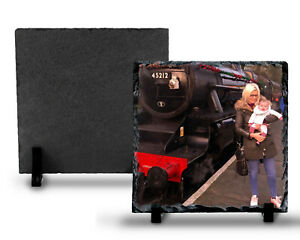 PERSONALISED PHOTO SQUARE ROCK SLATE WITH STAND - PERFECT GIFT - IN TWO SIZES