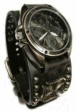 new! SKuLL IRON-CROSS WaTcH StUD BLaCK-LEATHER CuFF Nemesis RoCK BikER