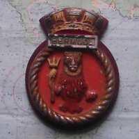 "HMS BERMUDA Royal Navy Ship Heavy Metal Tampion Plaque Crest 8""X6"" Approx 1.5lb"