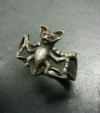 Unique and very cool Sterling Silver Bat ring with genuine diamonds and rubies