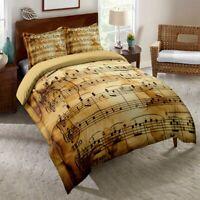 3D Retro Music Score Notes Duvet Cover Bedding Set Doona Quilt Cover Pillow Case