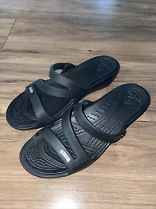 CROCS PATRICIA SANDALS Size 10 BLACK (10386)