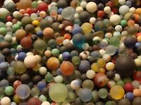 100 Vintage Glass Satin Sea/Beach Style Marbles Frosted Old Toys Cats Shooters