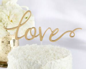 Gold Script LOVE Cake Topper Pick Wedding Engagement Party MW34096