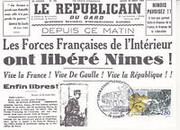 Carte Philatélique max 1er Jour FDC 1994 - Libération de Nîmes par les Forces Fr