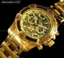 Invicta Men 18K Gold Plated Stainless Steel Chronograph Carbon Fiber Abalone Wat