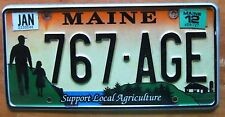 Maine 2012 SUPPORT LOCAL AGRICULTURE GRAPHIC License Plate NICE # 767-AGE