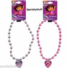 "2 NEW DORA THE EXPLORER 16"" PEARL NECKLACES WITH 1 1/2"" 3D GEM (PV)"