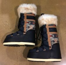 Tecnica Moon Boot Native Night Blue Brown Size 42/44 EUR The Original Moon Boots