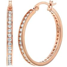 """Rose Gold Plated Clear CZ Large Hoop Earrings for Women 1.18"""""""