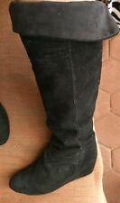 Nine West Amelie Suede Leather Boots Sz 38 8M Black Wedge Knee Calf
