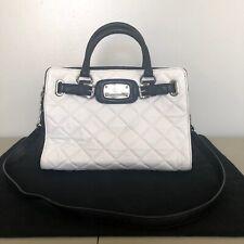 Michael Kors Hamilton Black White Quilted East West Genuine Leather Tote Handbag