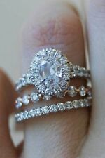 2.85Ct Oval White Diamond Engagement Wedding Ring in Solid 925 Sterling Silver