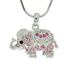 ELEPHANT W Swarovski Crystal Pink Good Luck Africa Asia Necklace Pendant Gift