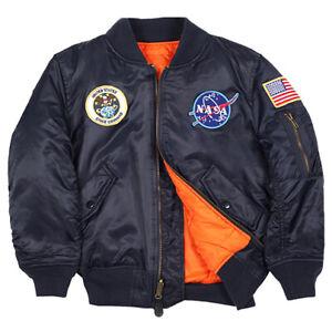 Genuine Alpha Industries Boys Youth NASA MA-1 Flight Jacket - Free Freight AU!