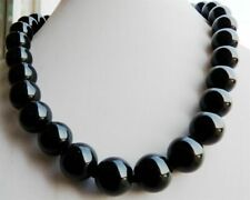 Natural 10mm Black Agate Onyx GEMSTONE Round Necklace 18'' AAA