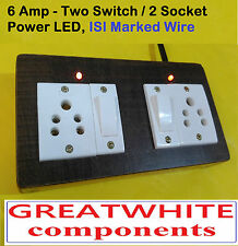 Wooden Extension 2 sockets ,2 Switch, 2 MTR ISI marked  wire, fast shipping