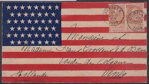 1899 Spanish-American War Patriotic Cover American Flag design Belgium - Holland